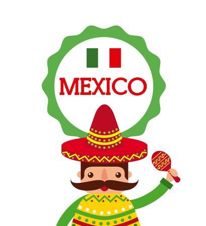 챙 넓은 모자 및 판 쵸 및 마라 카 벡터 일러스트 만화 멕시코 사람 스톡 콘텐츠 - 87761322