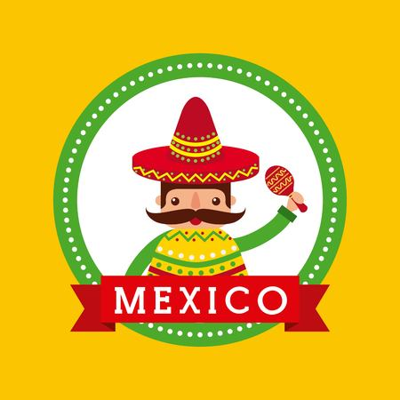 cartoon mexican man holding maraca with a sombrero and poncho vector illustration