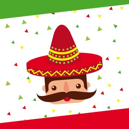 cartoon mexican man with mustache in a sombrero vector illustration