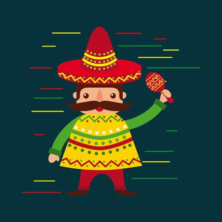 cartoon mexican man in a hat with maraca and poncho vector illustration Çizim