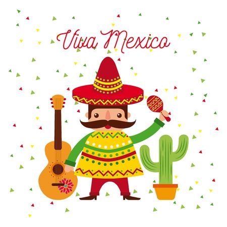 cartoon mexican man in a sombrero and poncho and maraca vector illustration