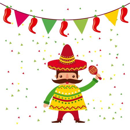 챙 넓은 모자 및 판 쵸 및 마라 카 벡터 일러스트 만화 멕시코 사람 일러스트
