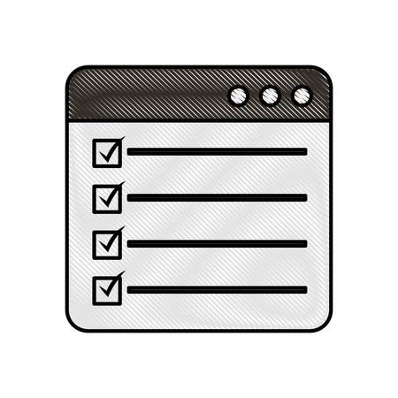 웹 페이지 확인 표시 보고서 목록 평면 디자인 그래픽 요소 벡터 일러스트 레이션
