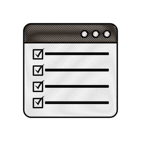 web page check mark report list flat design graphic element vector illustration