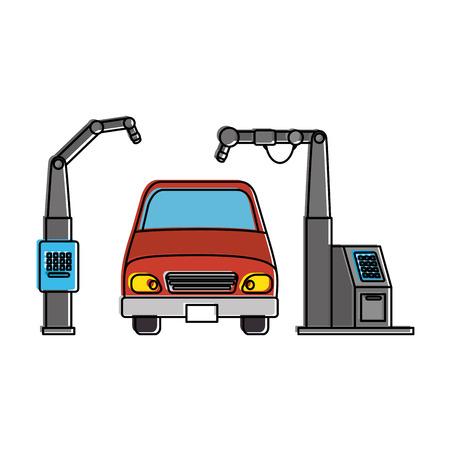 Auto mit Montage-Maschine-Vektor-Illustration-design Standard-Bild - 87794030