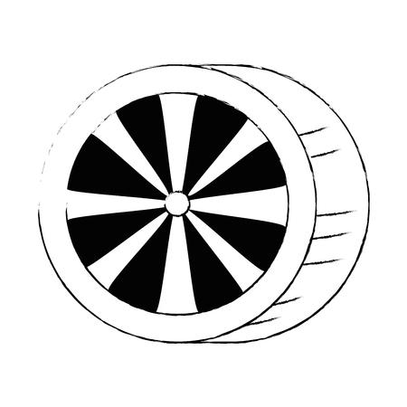 車のタイヤ分離アイコンベクトルイラストデザイン