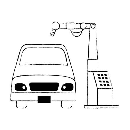 Auto mit Montage-Maschine-Vektor-Illustration-design Standard-Bild - 87794055