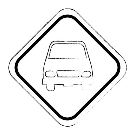 Señal de tráfico con diseño de ilustración vectorial de coche Foto de archivo - 87794272