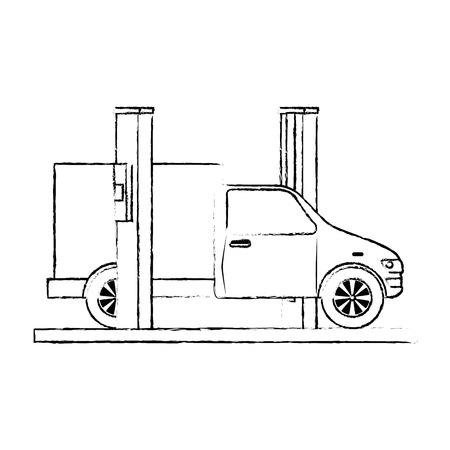 Auto mit Montage-Maschine-Vektor-Illustration-design Standard-Bild - 87794113