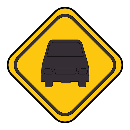 traffic signal with car vector illustration design
