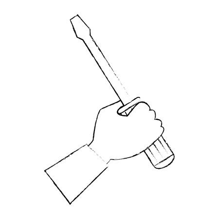 スクリュードライバーツールを使用した手分離アイコンベクトルイラストデザイン