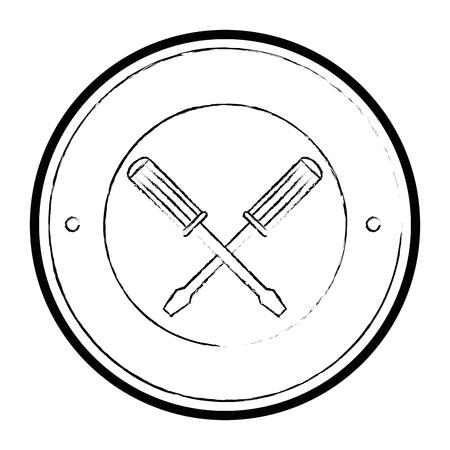 スクリュードライバークロスツール分離アイコンベクトルイラストデザイン