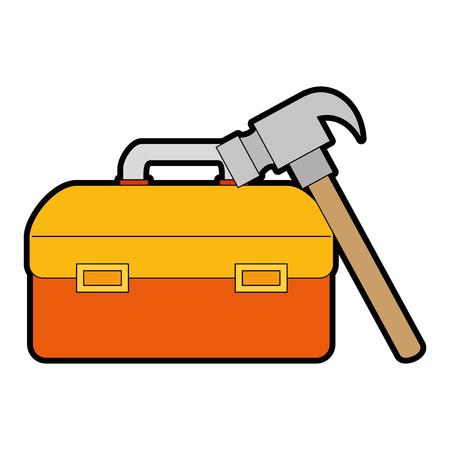 tool box with hammer vector illustration design