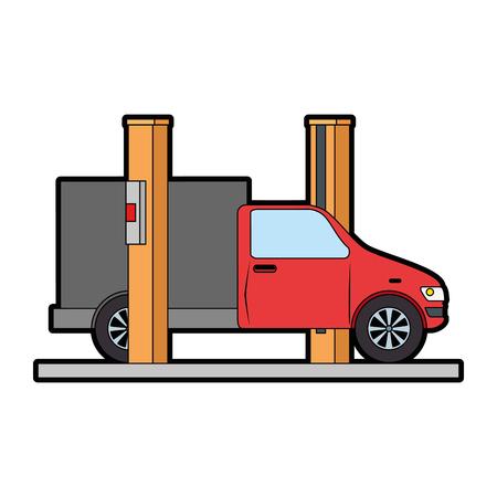 Auto mit Montage-Maschine-Vektor-Illustration-design Standard-Bild - 87823528