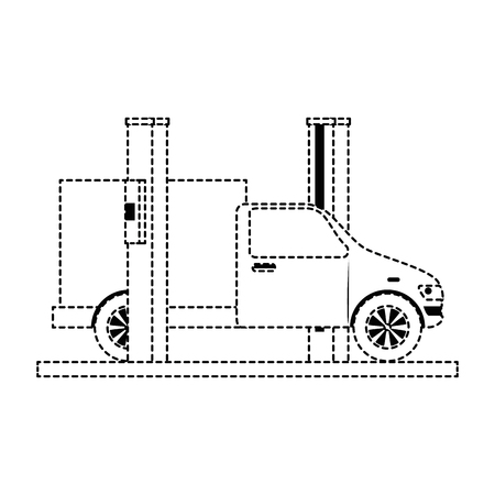 car with assembling machine vector illustration design