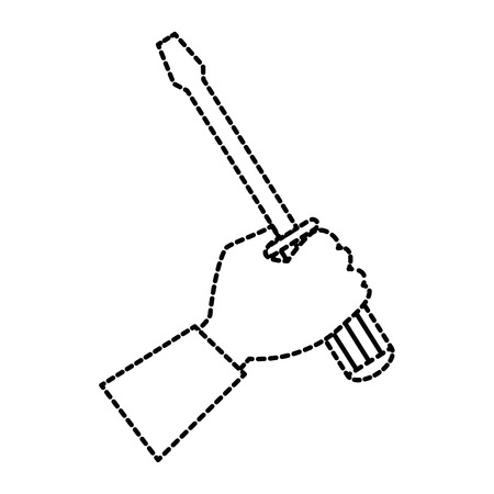 hand with screwdriver tool isolated icon vector illustration design Stock Vector - 87834315