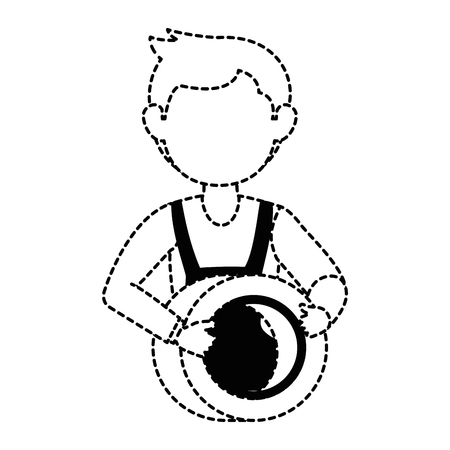 mechanic with tire avatar character vector illustration design Illustration