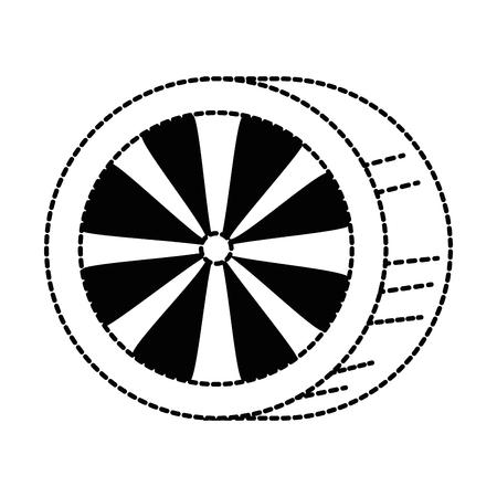 車タイヤ分離アイコン ベクトル イラスト デザイン