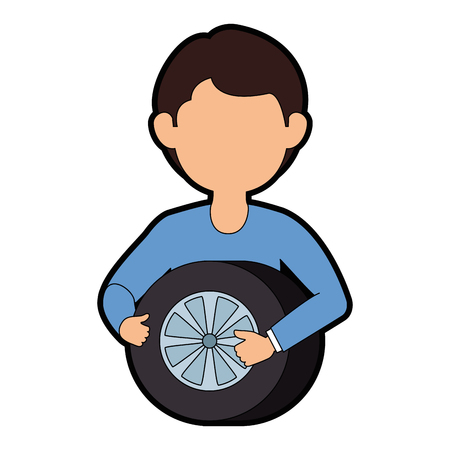 mechanic with tire avatar character vector illustration design Illusztráció