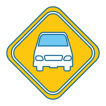 Signal de trafic avec le design vector illustration de voiture Banque d'images - 87838574