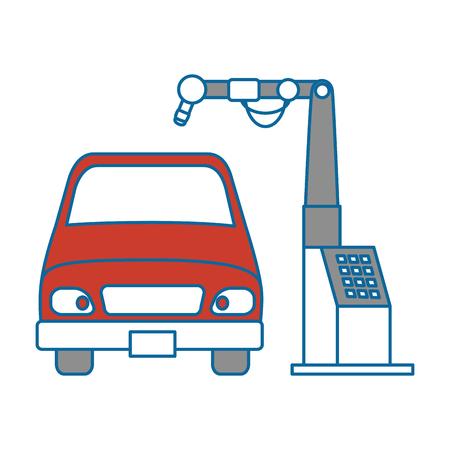 Auto mit Montage-Maschine-Vektor-Illustration-design Standard-Bild - 87838579