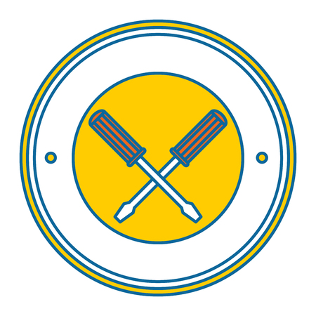 screwdrivers crossed tools isolated icon vector illustration design Stock Vector - 87838582