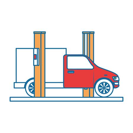 Auto mit Montage-Maschine-Vektor-Illustration-design Standard-Bild - 87838585