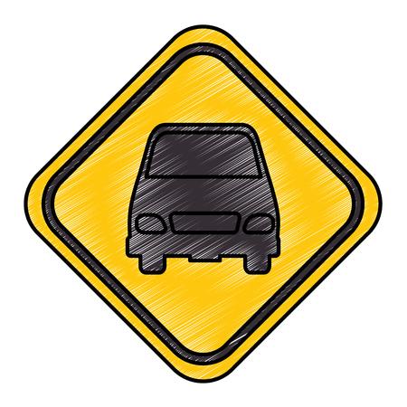 Señal de tráfico con diseño de ilustración vectorial de coche Foto de archivo - 87836487