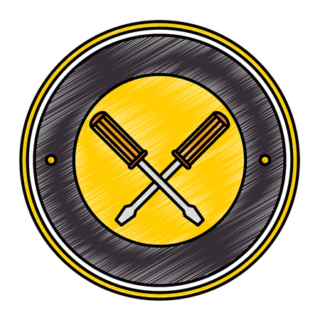 screwdrivers crossed tools isolated icon vector illustration design Stock Vector - 87836490