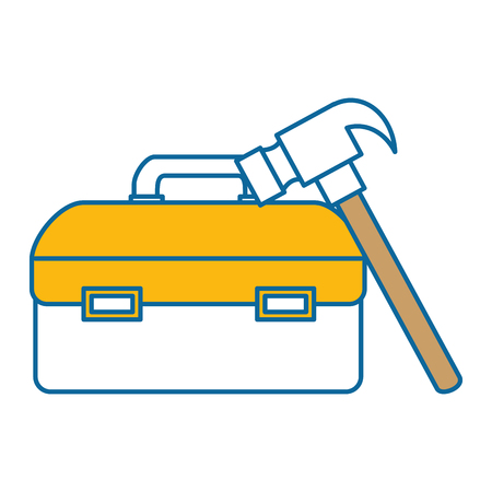 tool box with hammer vector illustration design