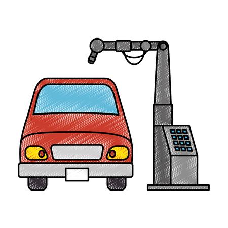 Auto mit Montage-Maschine-Vektor-Illustration-design Standard-Bild - 87839700