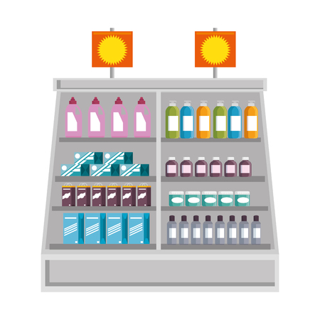 製品とスーパー マーケット冷蔵庫ベクトル イラスト デザイン