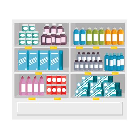 Supermarkt koelkast met producten vector illustratie ontwerp Stockfoto - 87843426