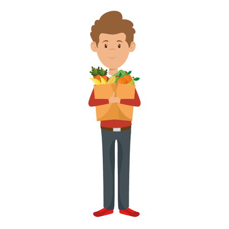 man with bag of groceries vector illustration design Stock Vector - 87843612