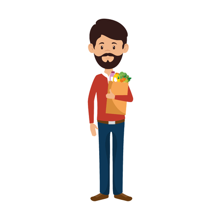man with bag of groceries vector illustration design Stock Vector - 87843613
