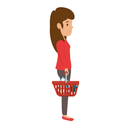 woman with shopping basket vector illustration design Illustration