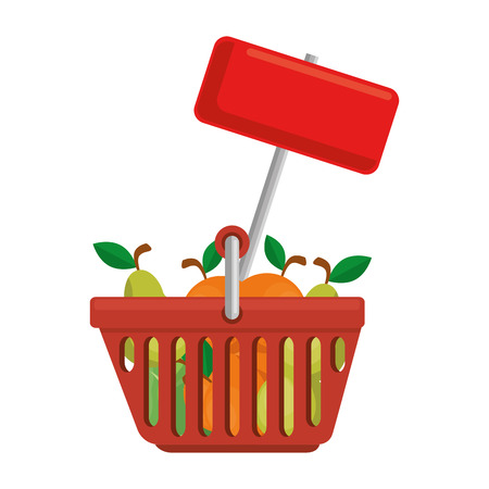 shopping basket with fruits and label vector illustration design