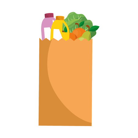 shopping paper bag with products vector illustration design