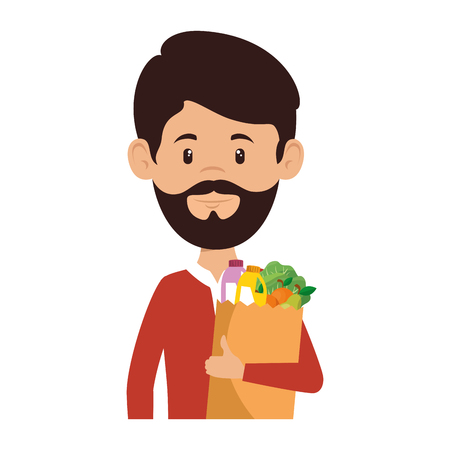 man with bag of groceries vector illustration design Stock Vector - 87843749