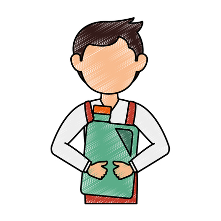 mechanic with gallon avatar character vector illustration design