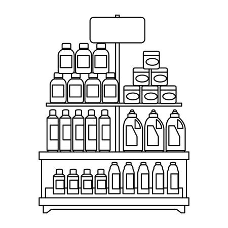 슈퍼마켓 선반 제품 벡터 일러스트 디자인