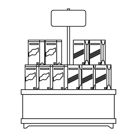 スーパーマーケットの棚の製品ベクトルイラストデザイン