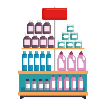 supermarkt plank met producten vector illustratie ontwerp