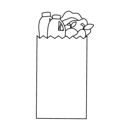 Sac de papier commercial avec des produits illustration vectorielle de conception Banque d'images - 87839293
