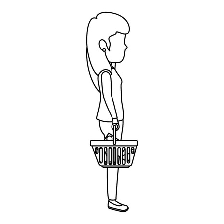 woman with shopping basket vector illustration design Vectores