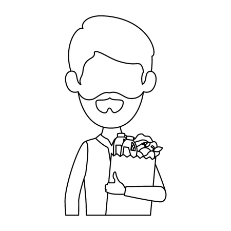man with bag of groceries vector illustration design Stock Vector - 87845868