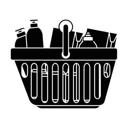 shopping basket with products vector illustration design
