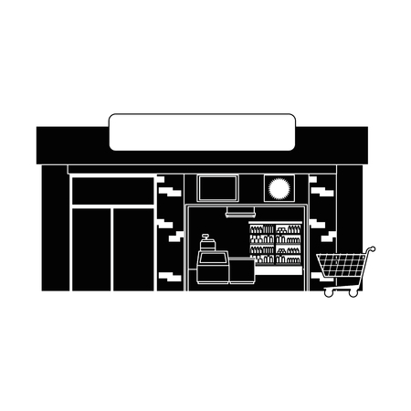 supermarket building front icon vector illustration design 向量圖像