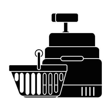 Supermarché machine à outils avec le panier illustration vectorielle design Banque d'images - 87839317
