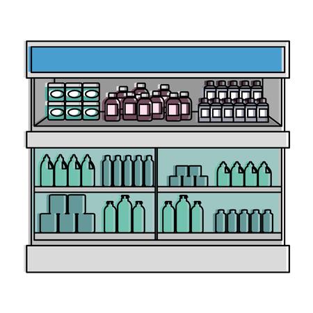 supermarket fridge with products vector illustration design